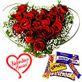 Heart Shape Roses Arrangement n Cadburys Chocolates to Gurgaon