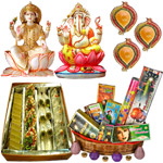 Lakshmi Ganesh Idols,Haldiram  Assorted sweets, Crackers and Diya to Belgaum