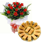 Dozen Red Roses Bouquet with Mysore Pak from Ananda Bhawan  to Chennai