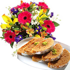 Assorted Flower Bouquet with Anand Bhawan Milk Cake.  to Chennai