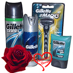Pack of shaving razor, foam, deodrant and after shave gel from Gillette to India