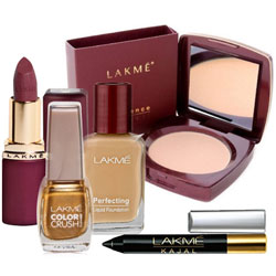 Excellent offer From Lakme consistinf of Compact, Nail Polish, Lipstick, Foundation and  Kajal to Aquem