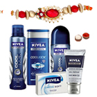 Nivea Bath Care Gift Hamper for Men with Rakhi and Roli Tilak Chawal to India