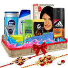 Glamorous Men�s Refreshing Gift Set with 2 Rakhis and Roli Tilak Chawal to Bangalore