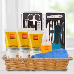Generous Gift of Essential VLCC Foot Products in Basket to Guwahati