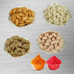 Mixed Dry Fruits 500 Gms In Silver plated Bowls  to Udaipur