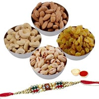 Silver Plated Bowls filled with Mixed Dry Fruits along with Free Rakhi, Roli Tilak and Chawal  to Cochin