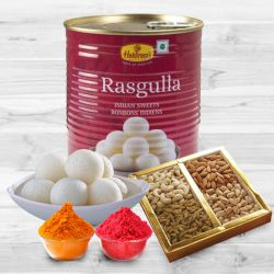 500 gms Assorted Dry Fruits with 1 Kg Haldiram Rasgulla to Bangalore