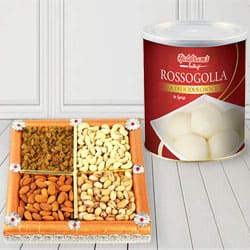 500 gms Assorted Dry Fruits with 1 Kg Haldiram Rasgulla to Bahana