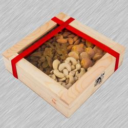 Marvelous Wooden Gifts Box of Assorted Dry Fruits to Adra