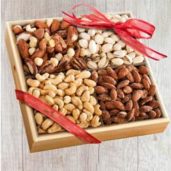 Exclusive Wooden Tray of Premium Salted Dry Fruits to Adugodi