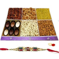 Mouthful Gusto Dry Fruit and Chocolate Pack with One Rakhi and Roli Tilak Chawal to Ariyalur