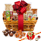 Saturating Dishes Dry Fruits Selection Hamper with One Rakhi and Roli Tilak Chawal to Cochin