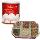 500 gms (Gross Weight) Assorted Dry Fruits with 1 Kg (Gross Weight) Haldiram Rasgulla to Cochin