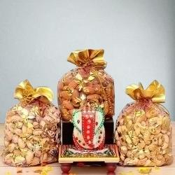 Divine Marble Ganesha with Assorted Dry Fruits to Akurdi
