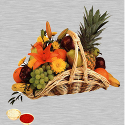 Fresh Fruits Basket 5 Kg with free Roli Tilak and Chawal to Bangalore