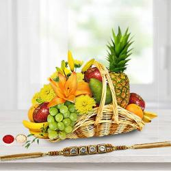 Fresh Fruit Basket 5 Kg with 1 Regular Rakhi and Roli Tilak Chawal to Bhiwadi