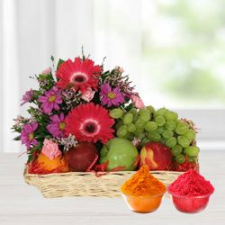 Resplendent colourful Flowers including luscious fresh Fruit basket to Bhubaneswar