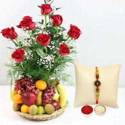 Exquisite Fresh Fruits Basket Hamper with Red Rose Bouquet with 1 Regular Rakhi and Roli Tilak Chawal to Amalampuram