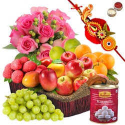 Basket Hamper of Fresh Fruits and Rose Bouquet with 1 Regular Rakhi and Roli Tilak Chawal to Alwar