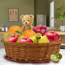 Delectable Basket of Fresh Fruits and Teddy to Alapuzha