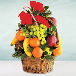 Nicely Decorated Seasonal Fruits Basket to Allahabad