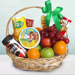Bountiful Fresh Fruits N Gourmet Fusion Gift Basket to Akola