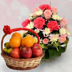 Luxurious Fresh Fruits with Colorful Flowers Basket to Ahmadnagar