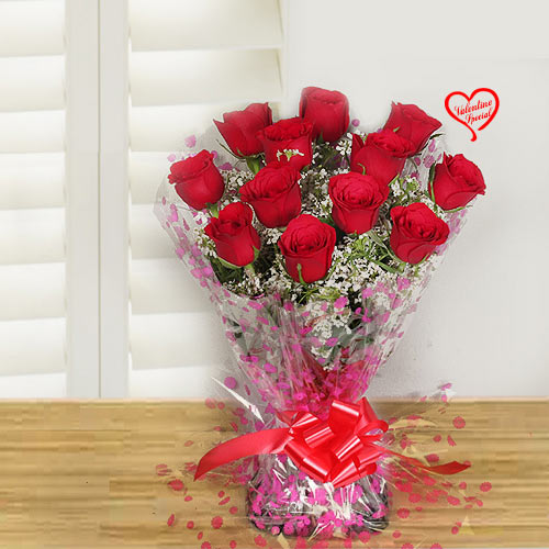 Bouquet of spectacular Red Roses to Bolpur