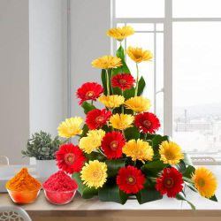 Charming bouquet of brightly hued  Gerberas to Bhiwani