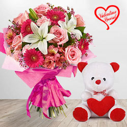 Bouquet with Teddy to Yamunanagar