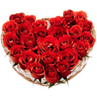 Red Roses in a bonny Heart Shape arrangement to Rajkot
