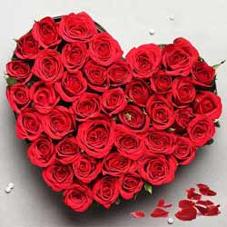 Two Dozen Red Roses in an alluring Heart Shape arrangement  to Barasat