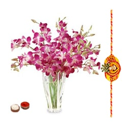 Purple Orchids in Vase with a Free Rakhi (Only for Major Cities / Towns) to Aligarh