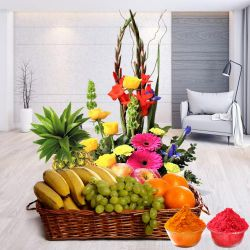 Splendid mixed Flowers including delicious fresh Fruits to Ahmedabad
