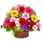 Basket of Sizzling Mixed Flowers to Agra