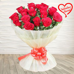 Red Dutch Roses Bouquet Nicely Wrapped  to Yamunanagar