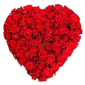 150 Dutch Red Roses in Heart Shape Arrangement to Bharuch