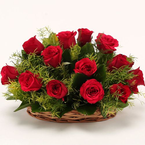 Red Dutch Roses Basket to Aligarh