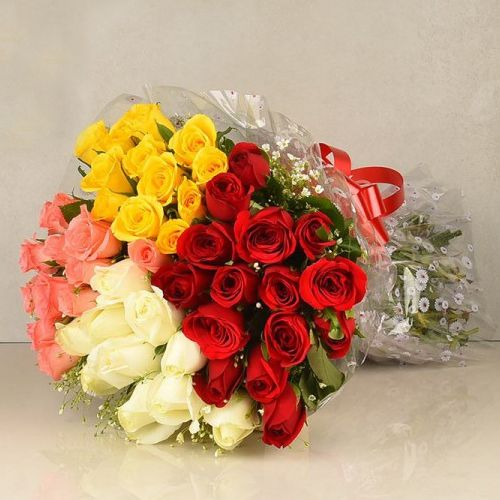 50 Mixed Colour Roses Bouquet to Amalampuram