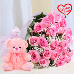 12 Pink Roses Bunch with 6 inch Teddy to Yamunanagar