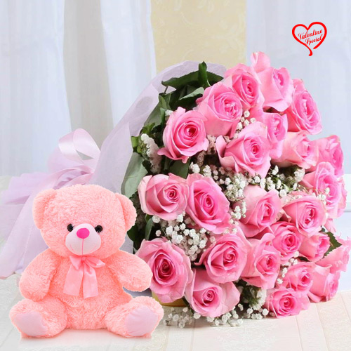 12 Pink Roses Bunch with 6 inch Teddy to Alwar