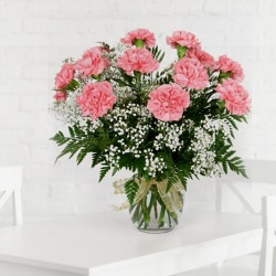 Respledent Pink Carnations with Vase to New Delhi