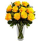 Luminous Collection of Yellow Roses in a Vase to Trivandrum