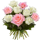 Preppy Arrangement of Pink and White Roses to Thane