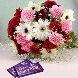 Convivial Blossom Medley with 2 Dairy Milk Chocolate to Alwar