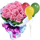 Wondrous Wishes Pink Roses with Balloons to Rajkot