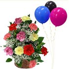 Healthy Wishes Basket of Mixed Carnations with Balloons to Tumkur