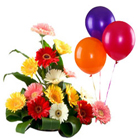 Bright and Brimming Mixed Gerberas Bouquet with Balloons to Tumkur