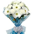Distinctive Bouquet of White Gerberas with Fillers to Bangalore